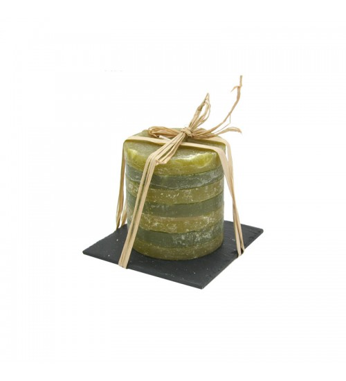 Pillar Candle With Stone Candleholder (Green)