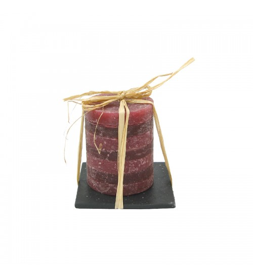Pillar Candle With Stone Candleholder (Red)