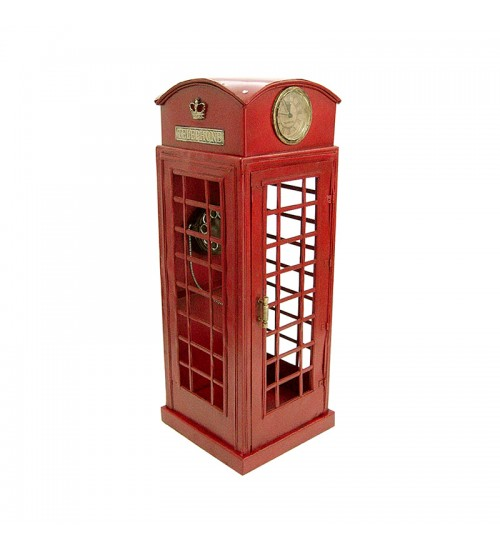 Retro Classic Handmade Iron '1920 RED LONDON TELEPHONE BOOTH' Model Craft Figure