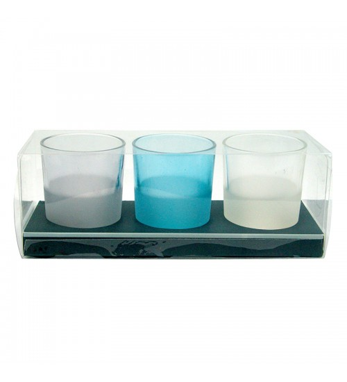 Blue & White Glass Tealight Candleholder