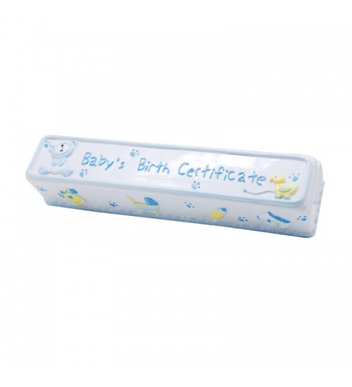 Baby Bear Birth Certificate Box (Blue)
