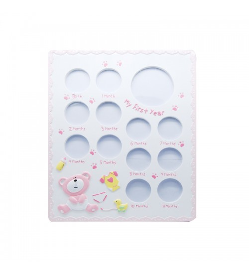 Baby Bear First Year Photo Frame (Pink)