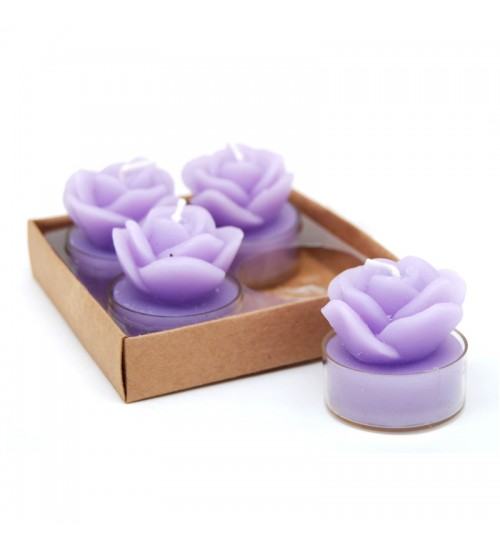 Rose Tealights - Purple (4 Pcs)
