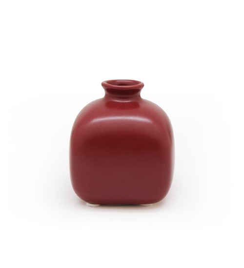 Square Ceramic Bottle - Red