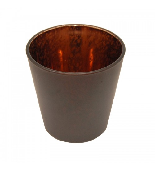 Metallic Glass Candleholder (L) - Dark Brown