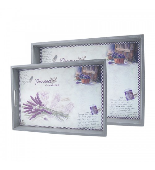 Lavender Of Provence - Wooden Serving Tray 2Pcs