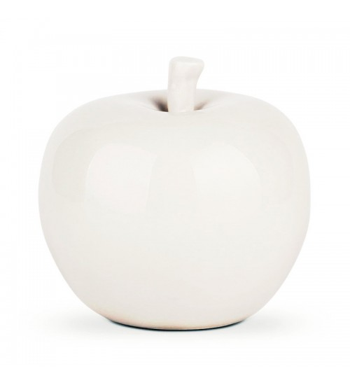 Ceramic White Apple Home Decor accent (L)