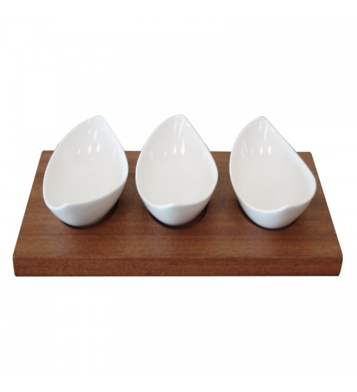 S/3 Boat Shaped Ceramic Bowls W/ Tray