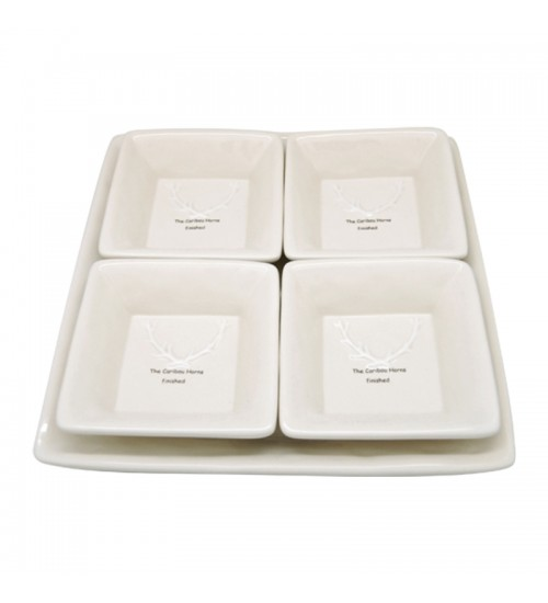 Caribou Horns - S/4 Appetizer Plates W/Tray