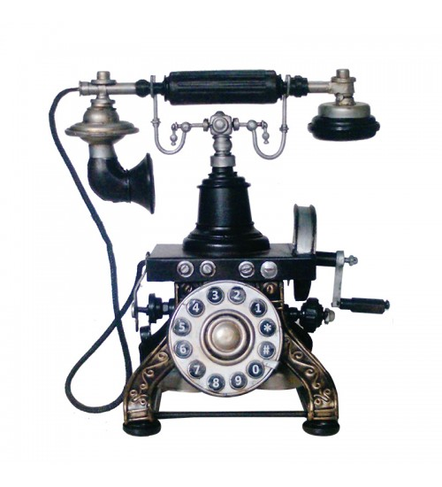 Retro Classic Handmade Iron '1892 PARAMOUNT ANTIQUE TELEPHONE' Model Craft Figure