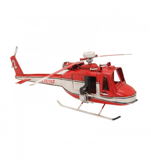 Retro Classic Handmade Iron '1962 Red & White Bell Helicopter' Model Craft Figure