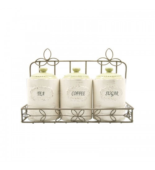 Reseda Canisters With Gold Metal Holder-3pcs