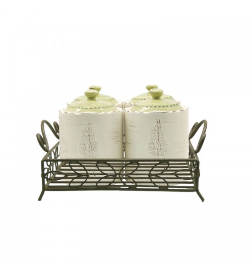 Reseda Canisters With Gold Metal Holder-4pcs