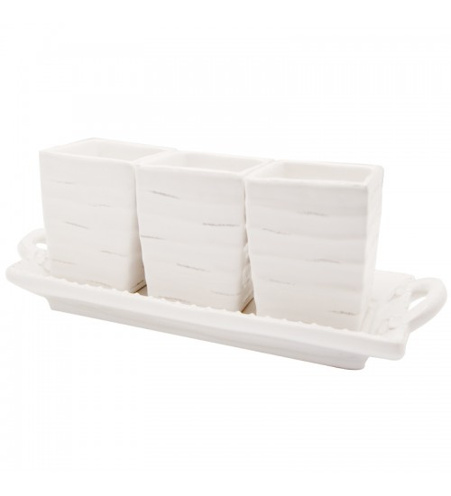 Embossed White 3 Part Server with Tray