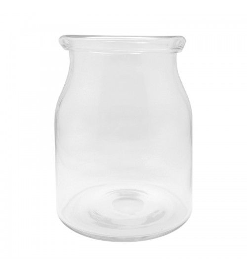 Drum-Shaped Glass Vase - Clear (M)