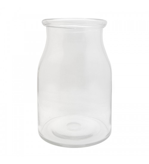 Drum-Shaped Glass Vase - Clear (L)